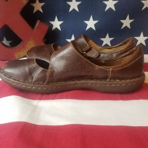 Born aged leather look velcro strap slip-on Shoes